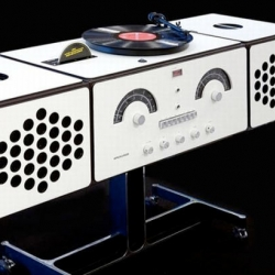 """A """"musical component robot"""" that plays records, CDs and DVDs while looking impressively stylish."""