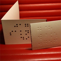 "Braille over the years has attracted attention when it launched as a decoration on the wall coverings, fabrics and shirts. ""Iris Hantverk"" have developed the card with Braille text, which reads: I miss you!"