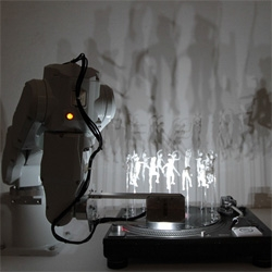 What do you get when you combine a robot arm, turntable, scans and 3D prints of a dancer, music and a light? 16 Forms by Daito Manabe (direction, 3D data editing, lighting+sound design) + Motoi Ishibashi (robot arm programming)!