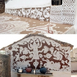 Never seen before outside the walls of Rajasthani village homes, the Mandana tradition of painting is practiced by the women of the Meena tribe. Handed down from mother to daughter, this stunning public art is a community tradition.