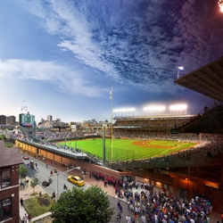 From day to night at Wrigley Field – in one image. By photographer Stephen Wilkes.