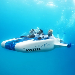 'Necker Nymph' is now available when booking a stay in Virgin's Limited Edition Necker Island. Two passengers sit either side of a trained pilot who will take the submarine down to as deep as 30 metres below the surface.