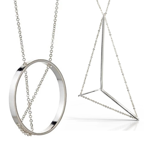 "Vanessa Gade Jewelry - ""Modern minimal metal contemporary architectural jewelry"" - Interesting use of delicate chain woven through the pieces!"