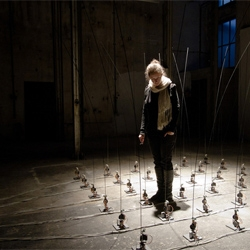 Fishing for compliments by Jan Bernstein, Max Kickinger, Woeishi Lean and Sebastian Neitsch. The 36 poles react to eac other and users, running servo monitors and producing distinctive sounds to form a chord.