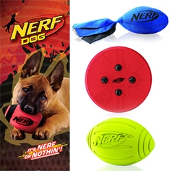 Nerf DOG! Fun Nerf inspired/licensed products for your dogs ~ we're loving the squeaker football!