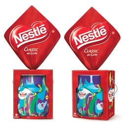 Easter tins for Nestle Brazil designed by FutureBrand with playful illustration work by Cako Martin.