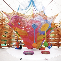 Japanese architects Tezuka Architects recently completed a pavilion for Now we present you Woods of Net, a permanent pavilion for japanese net artist Toshiko Horiuchi Macadam.