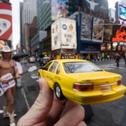 Michael Hughes' Souvenirs: wonderful mashups of miniatures and photographs.