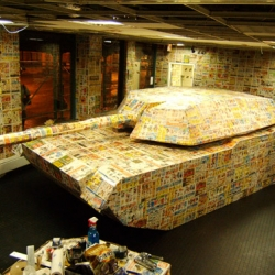 PRODUCT placement and amazing art installation constructed from junk mail