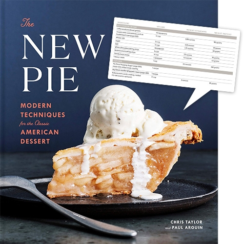 Happy Pi Day 2019! The New Pie: Modern Techniques for the Classic American Dessert by Chris Taylor and Paul Arguin is a unique new pie cookbook that just launched. Particularly liking the recipe layouts showing both weights (standard/metric) and volumes.