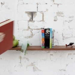 The Newton shelf, designed by Studio Ve, holds a special, favorite book within the plank, defying gravity.