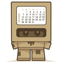 Cardboy Calender 2007 By Mark James. Brilliant DIY cardboard figurine... separate cubes inside the box to switch the months as 2007 flies by even...