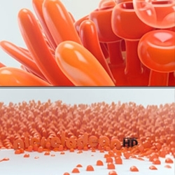 ManvsMachine's  nice exploration of forms and textures for Nickelodeon's HD channel 3D animated logo indents.