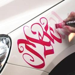Video of artist Niels Meulman customizing a white Mercedes-Benz B-Class with hundreds of women's names.