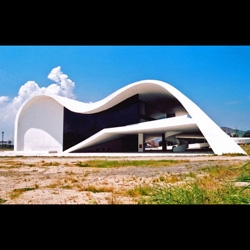 Some pics of  Theatre in Niteroi, the last wonderful architecture designed by the 100 year old living legend Oscar Niemeyer! Photos taken by Marcela Grassi.
