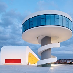 Centro Niemeyer, a new cultural centre for the port city of Avilés in northern Spain, designed by Brazilian architect Oscar Niemeyer.