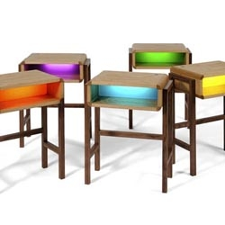 The Night Light Table, a glowing nightstand developed by designers Charlie Crowther-Smith and Richard Bannister.