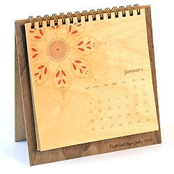 2009 Desktop CALENDAR from Night Owl Paper Goods Modern yet Folksy * Eco-friendly mixture of Sustainably Harvested Birch, Walnut & Douglas Fir wood.
