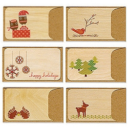Spruce up holiday gifts with cards made from REAL Birch wood! A forest full of critters to choose from.