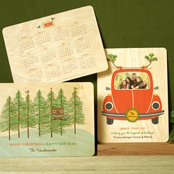 Personalized Wood Holiday Cards with a Keepsake 2011 Calendar printed on back