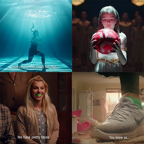 "Nike W+K Amsterdam ads just in time for International Women's Day. Russia: ""What Are Girls Made Of?"", The Middle East: ""What Will They Say About You?"", and Turkey: ""This Is Us"""