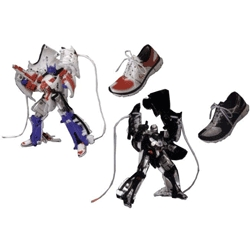 New transformers series features 1/2 scale transforming Nike shoes! Megatron and Optimus transform into Nike free 7.0.