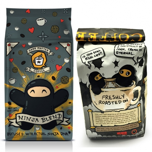 Ninja Blend Coffee from Shawnimals x Dark Matter Coffee! Each 12 oz. bag of whole bean Ninja Blend coffee comes with a limited edition 5 x 7-inch, signed, and unframed giclee print of a ninja with a fresh cup.