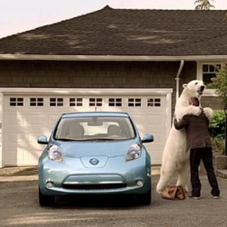 TV spot for the electric Nissan Leaf shows a polar bear lumbering down from the Arctic. By TBWAChiatDay.