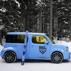 Nissan's increasingly iconic (and just launched in the UK) Cube is bound to attract a number of cool collaborations... here's one from trendy French freeski brand, Black Crows.....
