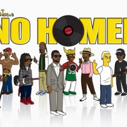 Format Presents: No Homer – Hip Hop Icons Simpsonized. The set features Kanye West, Lil Wayne, Notorious B.I.G., 2Pac, Snoop Dogg, Flava Flav, Eazy E, Andre 3000, Eminem, and Fat Joe.