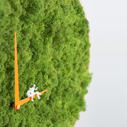 A hand made clock by noktuku studio contains real moss.