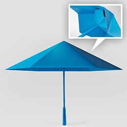 The SA umbrella by Justin Nagelberg for Nooka loses the traditional skeleton and mesh umbrella structure, for a much more modern and efficient design. Currently on Kickstarter.