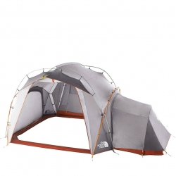 The North Face Docking Station makes for a fine base camp. The 97 sq. ft. component offers room for six, with roll up walls, a perimeter floor and color-coding for easy setup, durable steel stakes, all in a duffel-style storage sack.
