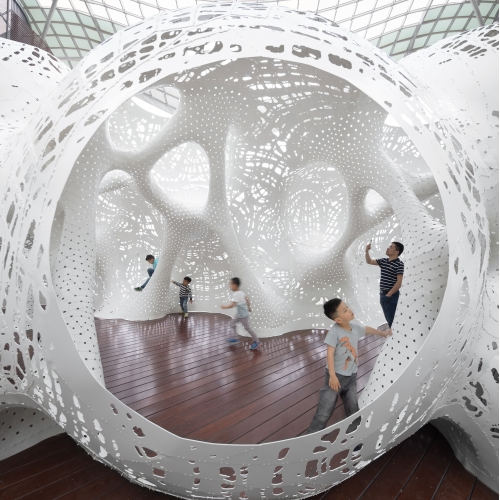 Boolean Operator by THEVERYMANY is an immersive outdoor pavilion in Suzhou, that takes inspiration from the Extraordinary Voyages by early science fiction writer Jules Verne.