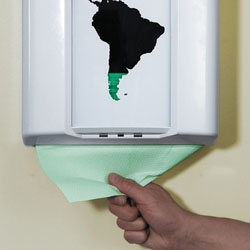 We took a standard paper dispenser and made a simple modification with green foil and the silhouette of South America. This allowed us to prove that the survival of the forest is directly connected to what people consume.
