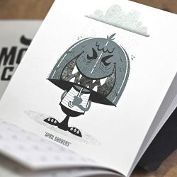 Introducing The 2012 Monster Calendar featuring 12 screenprinted monthly-monster creatures illustrated by 55 Hi's & SockMonkee.