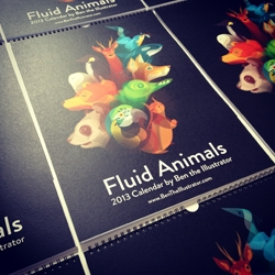 Ben the Illustrator has released The Fluid Animals Calendar for 2013, bringing together twelve of his most popular fluid animal artworks.