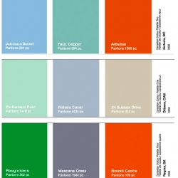 In a very cool colour project for Walrus Magazine, designer Todd Falkowsky created Pantone palettes  out of the most prominent colours from nature and landmarks  in each Canadian capital city.