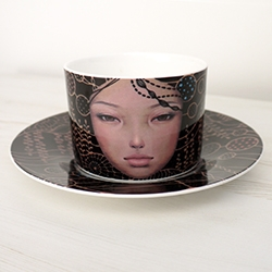 Beautiful new limited edition cup & saucer set from Audrey Kawasaki.