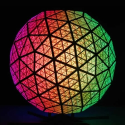 The 2009 Times Square New Year's Eve Ball is s a 12 foot geodesic sphere, double the size of previous Balls, powered by 32,256 LEDS and capable of creating a palette of more than 16 million vibrant colors.