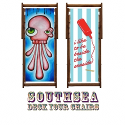 25 Deckchairs designed by 25 local artists in Southsea, Portsmouth, UK.'Own a piece of Southsea with your very own deckchair designed by local artists'. Follow the making of them and choose one to buy.