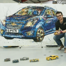UK artist Ian Cook commissioned by car brand Chevrolet to paint the new Spark ... using radio controlled cars