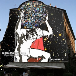 Absolut Wallpaper is a very nice initiative launched by Absolut Vodka in Italy, which invites artists and designers to transform urban spaces into real wallpapers for the cities.