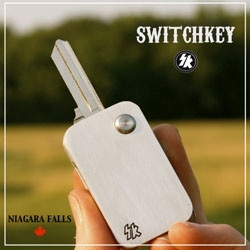 SWITCHKEY, flipper style key fobs from donnykennedy. Push button activated, key springs from the side like a VW...only fast and hard. Made in Canada, machined from billet aluminum.