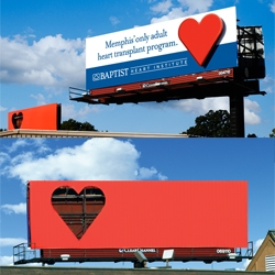 Interesting advert from Red Deluxe Brand Development featuring a billboard heart transplant.