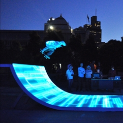 Old-time skaters ENESS jumped at the chance to bring skateboarding into the future by blending interactivity and high-tech mastery for the Tron Legacy premiere.