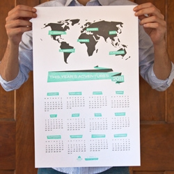 Keep track of the new year and its adventures with this travel themed letterpress calendar!