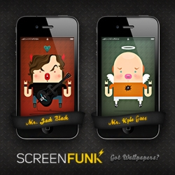 Screenfunk, where your iPhone & iPad screens meet funk through groovy wallpapers from artists with near-perfect hand/eye coordination.