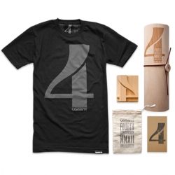 Limited Edition Ugmonk 4th Anniversary Set. Each tee comes packaged in a flexible wood cylinder, accompanied by a letterpress block made from reclaimed Ginkgo wood. Only 200 ever made.