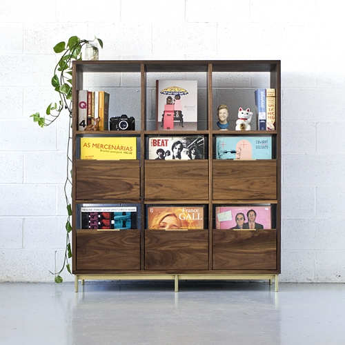 Korgis Record Cabinet/Bookshelf. Customizable layout front load drawer style record storage to display records by Mitz Takahashi. Walnut and Brass